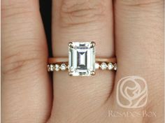Rosados Box Skinny Norma 9x7mm and Petite Naomi 14kt Rose Gold Emerald F1- Moissanite and Diamond Cathedral Wedding Set