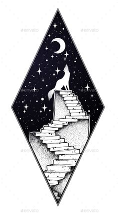 Buy Abandoned Ruin Stairway with Howling Wolf by itskatjas on GraphicRiver. Abandoned ruin stairway to the night, with a wolf howling at moon sky. Symbol of imagination, creative idea, lonelyne. Wolf Howling Drawing, Wolf Howling At Moon, Howling Wolf Tattoo, Easy Drawings, Tattoo Drawings, Pencil Drawings, Tribal Animal Tattoos, Wolf Colors, Circle Drawing