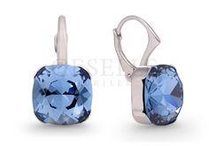 Komplet wiszących kolczyków Antique Square z kryształami Swarovski ELEMENTS - Denim Blue - kolekcja Basic | SREBRO \ Kolczyki od GESELLE Jubiler