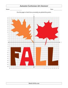 The Autumn Cartesian Art Fall Leaf Design (Four Quadrants) Math Worksheet from the Seasonal Math Worksheets Page at Math-Drills.com. Math Drills, 12th Maths, Group Work, Math Worksheets, Learning Centers, Teaching Tools, Leaf Design, Autumn Leaves, Seasons