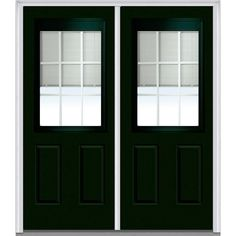 Milliken Millwork 66 in. x 81.75 in. Classic Clear RLB GBG Low-E 1/2 Lite 2 Panel Painted Fiberglass Smooth Exterior Double Door, Hunter Green