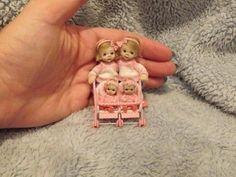 Miniature handmade BABY GIRL TODDLER TWIN GIRLS & TOY STROLLER ooak DOLLHOUSE