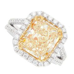 4.73ct Fancy Yellow Radiant Cut Diamond Ring by JacobKJewelry