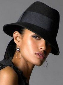 High fashion trend black felt fedora hat wide brim women