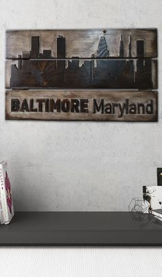 Baltimore Maryland Laser Engraved Wood Custom Wood Signs Engraved Carved Wood Wall Panel Modern Wood Wall Decor Wood Wall Art Large Wood Art  USD 155.78+