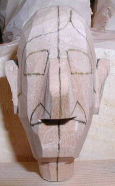 This is a study that I use to help show new carvers how to rough out a face Whittling Projects, Whittling Wood, Dremel Carving, Wood Carving Tools, Wood Carving Patterns, Carving Designs, Woodcarving, Popular Woodworking, Woodworking Jigs