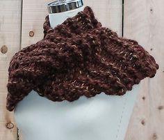 Hand-Knit-Scottish-style-Brown-Cowl-Infinity-Scarf-Handmade-acrylic-wool-rayon