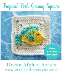 Tropical Fish Granny Square | Fish Applique | Free Crochet Pattern | Ocean Afghan Series