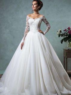 Winter prinsessen trouwjurk lange mouw bruidsjurk op maat
