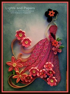 Paper Quilling roses designs and art ideas: Quilling is a craft using strips of paper which are twisted, curled and glued together to create artistic designs. Quilling art was quite popular during Quilling Cards Design, Quilling Flower Designs, Paper Quilling Cards, Paper Quilling Tutorial, Paper Quilling Patterns, Origami And Quilling, Quilled Paper Art, Quilling Flowers, Quilling Animals