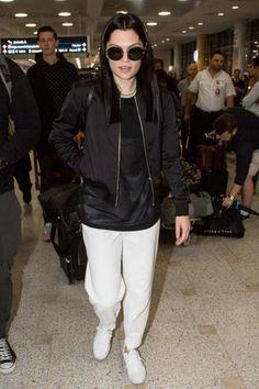 Jessie J in white sneakers.