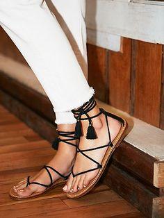 Free People black wrap sandals