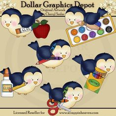Little Birds Go To School - Clip Art - $1.00 : Dollar Graphics Depot, Quality Graphics ~ Discount Prices