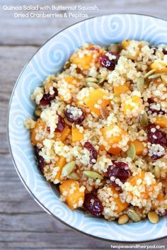quinoa salad with butternut squash, dried cranberries, and citrus honey dressing