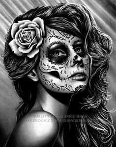 Image result for sugar skull woman tattoo