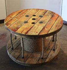 This would be an easy DIY project, I already have a large spool from hubby's work outside in my back porch. ~Upcycled Cable Spool Coffee Table // Library // Storage by AaCcBb, $250.00