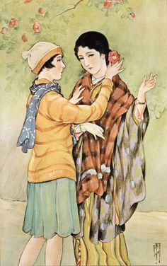 Illustration from 少女画報 (Girls' Illustrated) magazine高畠華宵Takabatake Kashō1920s