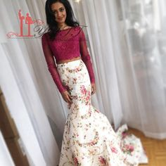 Aliexpress.com   Buy New Design 2 Piece Prom Dresses 2017 Robe de Soiree  Lace Beaded Top Long Sleeves Floral Flowers Print Mermaid Evening Gown  LY336 from ... 0bf5ae6f3978