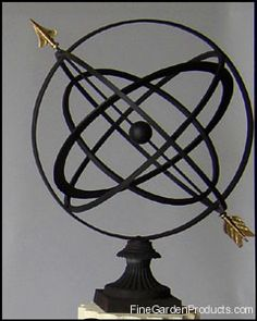 Armillary Sphere Garden Art With Fluted Base
