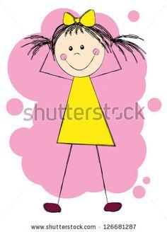 Funny girl in yellow dress