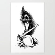 Krishna Symbol_t Size Art Print by Vimalarts - X-Small Doodle Art Drawing, Dark Art Drawings, Mandala Drawing, Art Drawings Sketches, Krishna Tattoo, Ganesha Art, Krishna Art, Krishna Flute, Ganesha Tattoo Mandala