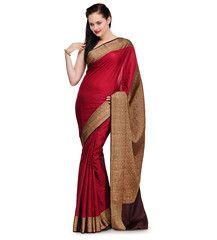 Maroon Zari Woven Silk Saree | Fabroop USA | $78.99 |