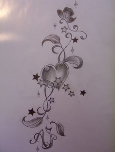 THIS...with the heart in red but without the stars and maybe a bow/ribbons at the top instead of the flower/vines and no initials at the bottom!