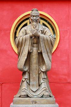 Statue of Confucius at Wat Traimit,  Bangkok, Thailand