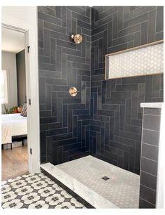 Black Tile Bathrooms, Small Bathroom, Modern Bathroom Tile, Pool Bathroom, Black Shower, Tadelakt, Master Bath Remodel, Bathroom Renos, Bathroom Ideas