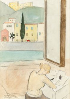 Einar Jolin (Swedish, 1890-1976), View over the Arno, Florence, 1921. Mixed media, 33.5 x 24 cm.