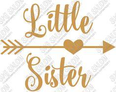 Little Sister Curly Font Heart Arrow Iron On Vinyl by SVGSalon