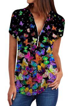V Neck Butterfly Print Short Sleeve Blouse #Blouses