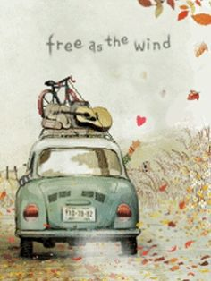 free as the wind Love this illustration! Illustrations, Illustration Art, Urbane Kunst, On The Road Again, Decoupage, Sketches, Adventure, Retro, Words