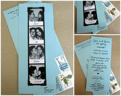 Do you remember the day you and your sweetheart were at the arcade or walking down the mall and you saw your first photo booth. Some romantic shots and some funny. Well this is a great idea for a save-the-date card created by Birds and Banner. Your guests get to see the newly engaged couple along with a cute save-the-date reminder.How To Make It:~ Find a photo booth and take a least 2 sets of photos. You don't need to send everyone the same set of photos so mix it up.~ Write -?