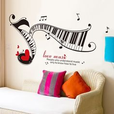 Music notes read music piano keyboard wall stickers kids room bedroom wall decoration stickers classrooms piano music ** Find out more at the image link. Wall Stickers Birds, Wall Decals Uk, Kids Room Wall Stickers, Custom Wall Stickers, Kitchen Entryway Ideas, Desktop Wallpaper Summer, Inspiration Wall, Cool Walls, Wall Collage
