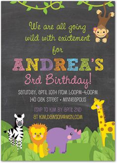 Girl First Birthday Invitations, Jungle Animal Safari Chalkboard Girl Birthday Invitations