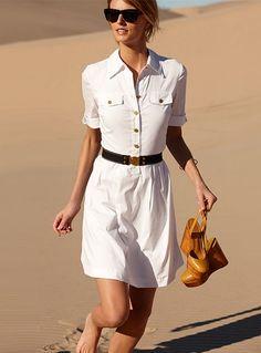 T-shirt Dress Summer Shirtdress New Ideas Vestidos Safari, Ropa Semi Formal, Safari Dress, Mein Style, Little White Dresses, Street Style, White Shirts, White Blazers, White Fashion