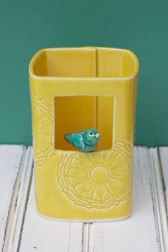 Porcelain Window Bird Vase in Marigold with Teal bIrd by potteryandtile on Etsy