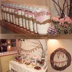 Rustic baby shower with a woodland theme for baby girls - cute!