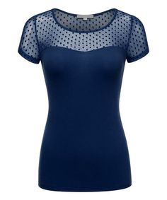 Eclipse Dot Mesh Scoop Neck Top by Ami Sanzuri #zulily #zulilyfinds