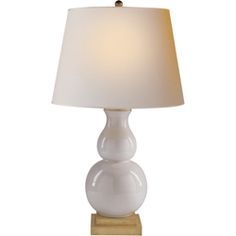 Visual Comfort E.F. Chapman's Chart House Large Gourd Form Table Lamp in Ivory with Natural Paper Shade CHA8615I-NP- LIVING ROOM ROUND LAMP TABLE