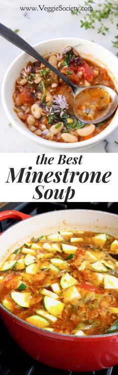 The Best Minestrone Soup Recipe Ever. Quick & Easy to make | Healthy • Vegan • Plant-Based • Authentic | VeggieSociety.com @VeggieSociety