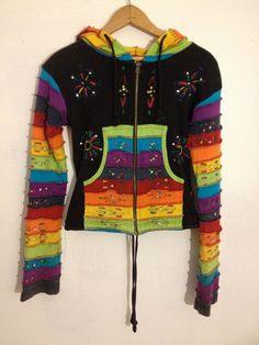 90s Rainbow Striped Hippie Zip Up Hoodie by thatVideoVAMPvintage, $45.00