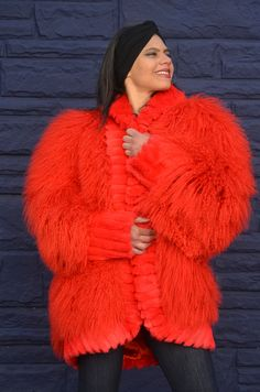 Vtg Red Mongolian Fur Tibetan Lamb Shaggy Fringe Chubby Cape Jacket COAT. Get ready for the whinter