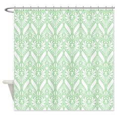 Mint Green Victorian Pattern Shower Curtain on CafePress.com
