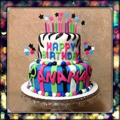 Two tier zebra stripes birthday cake