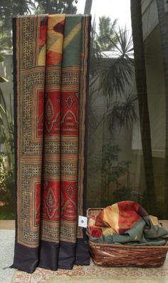 Handmade Ajrakh Dupion Silk Saree from Lakshmi.co www.yarnstyles.com