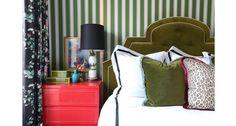 Summer Thornton Design | Chicago InteriorDesign & Remodel green stripe wallpaper