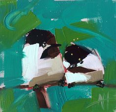 Two Chickadees no. 48 original bird oil painting por prattcreekart, $50.00