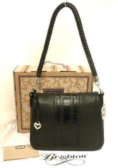 New Brighton H42763 Black Leather Brandyn Flap Organizer Shoulder Bag  #Brighton #ShoulderBag